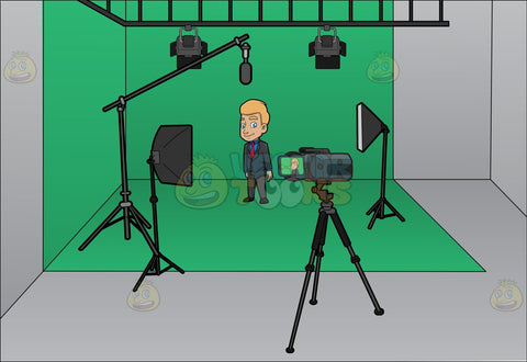 A man gets ready to film inside a studio