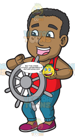 A Happy Black Man Steering The Wheel Of A Boat