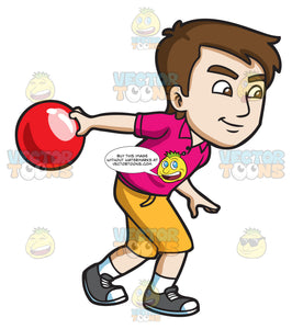 Bowling person. A competitive guy enjoying