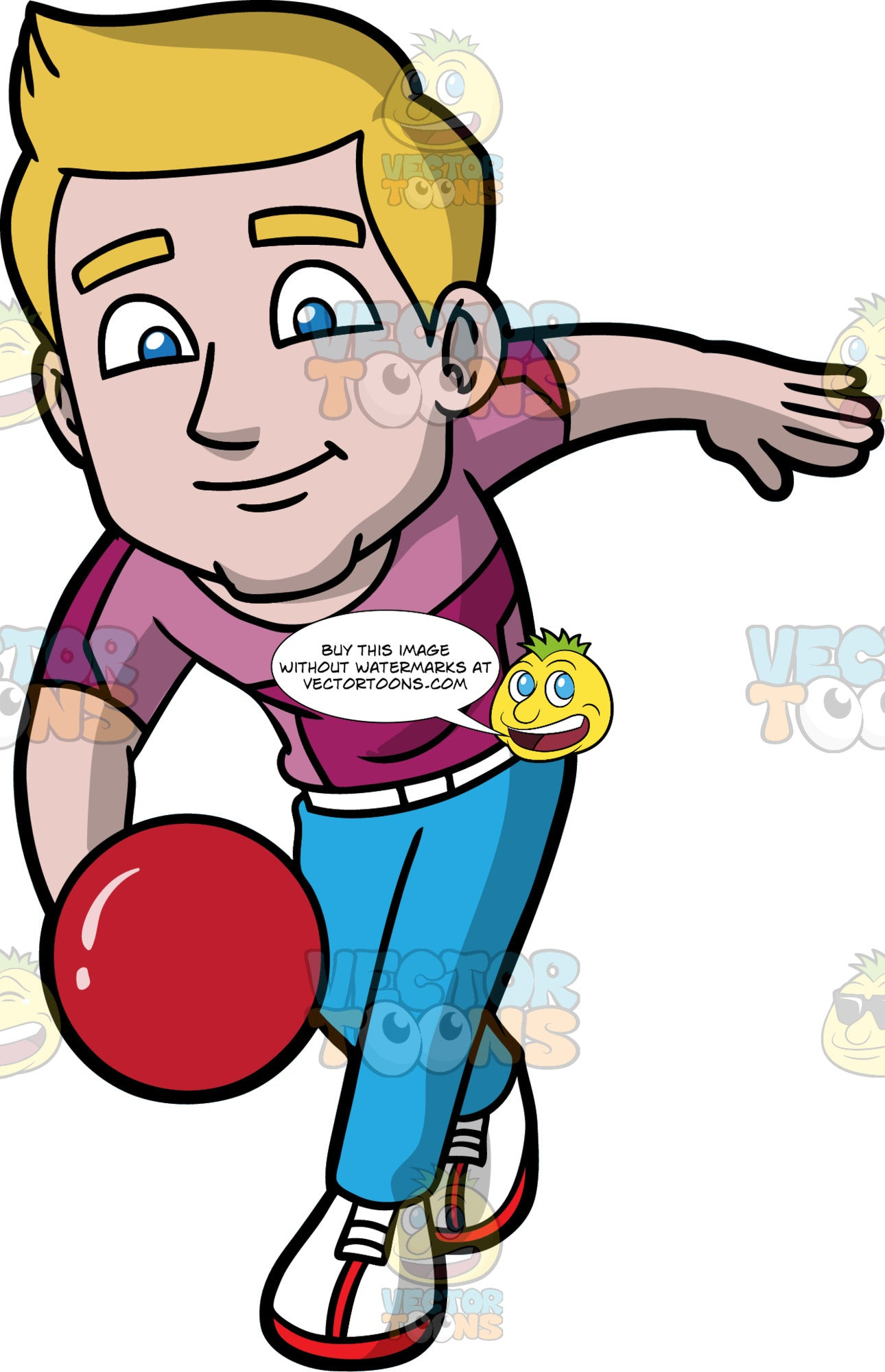 Matthew Enjoying A Game Of Bowling. A man with dirty blonde hair, wearing blue pants, a two toned purple shirt, and white with red bowling shoes, about to release a red bowling ball down the lane