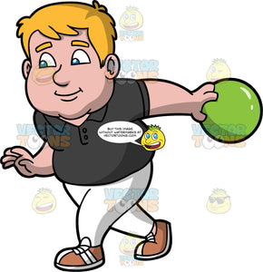 Sam Getting Ready To Release A Bowling Ball. A chubby man wearing white pants, a dark brown shirt, and brown and white shoes, about to release a green bowling ball down the lane