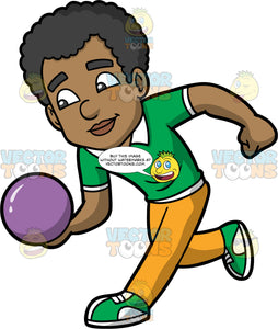 Jimmy About To Throw A Purple Bowling Ball. A black man wearing mustard yellow pants, a green shirt, and green with white bowling shoes, holding a purple bowling ball and getting ready to release it