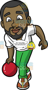 Calvin Throwing A Red Bowling Ball. A black man with a beard, wearing green pants, a white shirt, and brown and white bowling shoes, holding onto a red bowling ball and getting ready to throw it down the lane