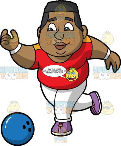 James Throwing A Blue Bowling Ball. A black man wearing white pants, a red shirt, and lavender bowling shoes, releasing a blue bowling ball down the lane