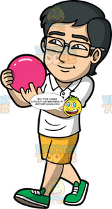 Simon Getting Ready To Bowl. An Asian man wearing mustard yellow shorts, a white shirt, green bowling shoes, and eyeglasses, holding onto a pink bowling ball and getting ready to throw it