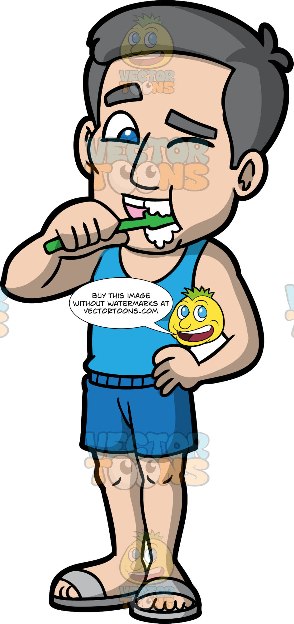 Bob Brushing His Teeth. A mature man wearing blue shorts, a blue tank top, and gray sandals, standing with one hand on his hip while brushing his teeth