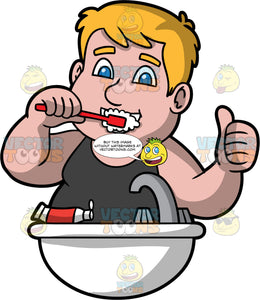 Sam Brushing His Teeth. A man wearing a black tank top, standing at the bathroom sink, brushing his teeth and giving the thumbs up