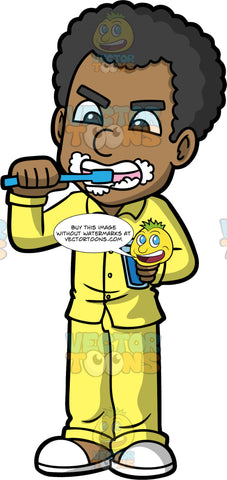 Jimmy Vigorously Brushing His Teeth. A black man wearing yellow pajamas and white slippers, holding a glass of water in one hand and brushing his teeth with the other