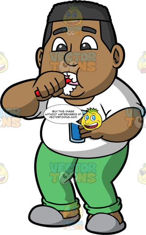 James Brushing His Teeth. A black man wearing green pajama bottoms, a white t-shirt, and gray slippers, holding a glass of water in one hand and brushing his teeth with the other