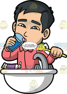Kevin Rinsing His Mouth After Brushing His Teeth. An Asian man wearing a pajama shirt, standing at the bathroom sink taking a drink of water to rinse out his mouth after brushing his teeth