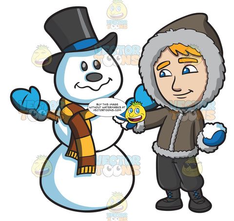 A Man Touching Up The Snowman He Made