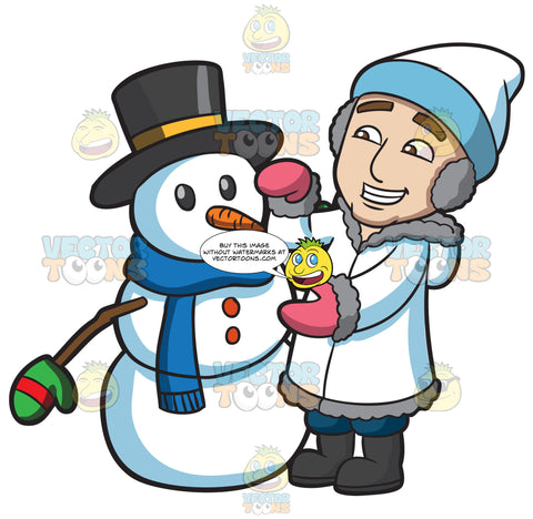 A Man Fixing The Snowman He Created