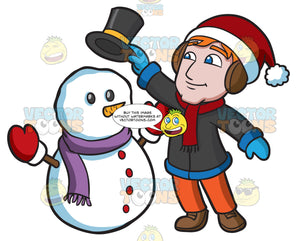 A Man Placing A Top Hat On A Snowman