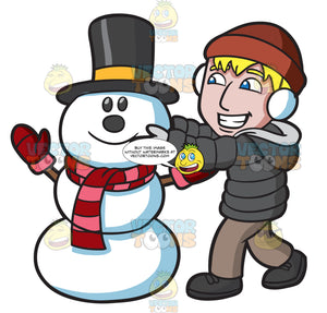 A Man Fixing The Head Of A Happy Snowman