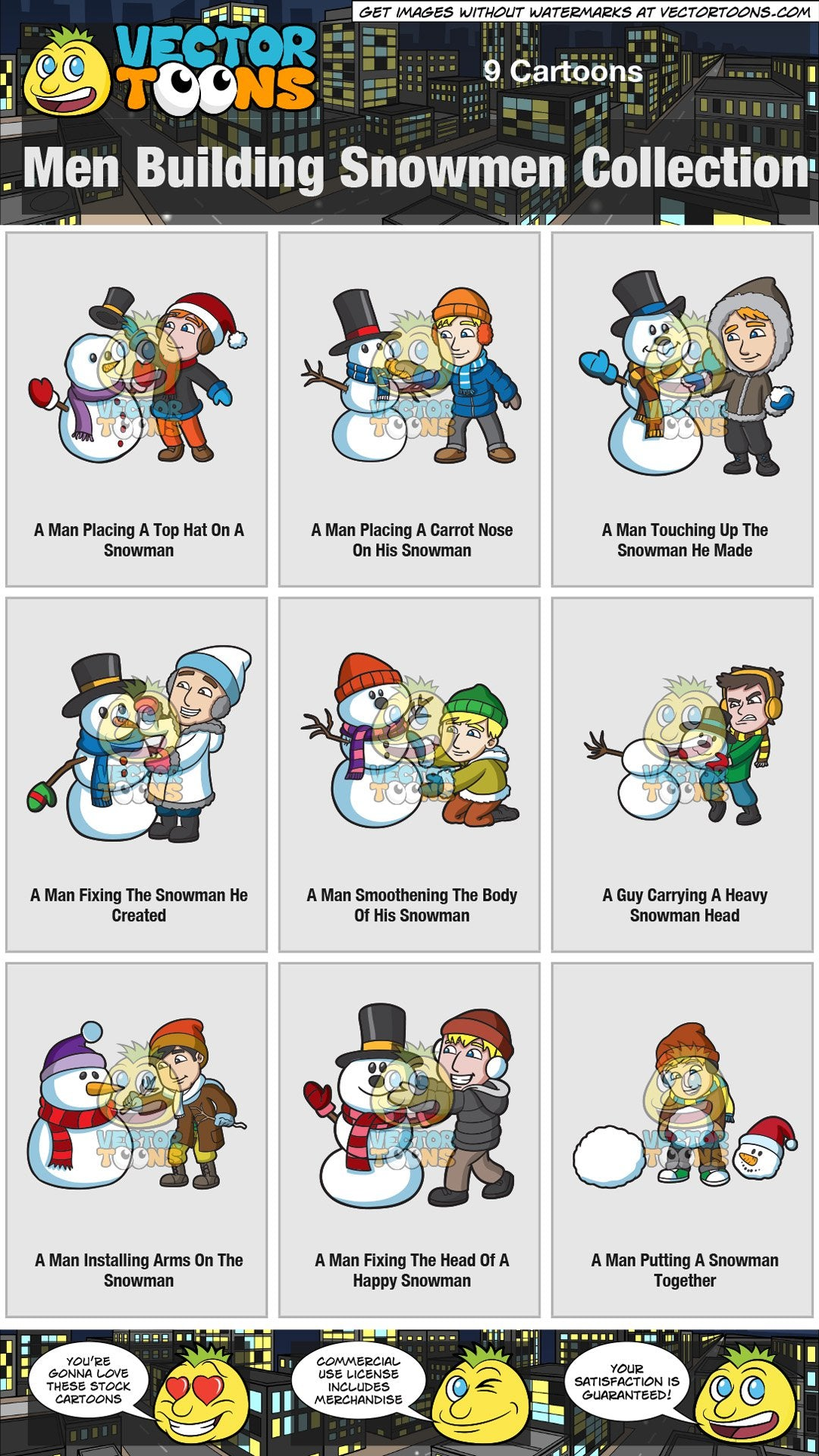 Men Building Snowmen Collection