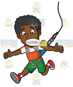 Happy Black Guy Doing A Bungee Jump