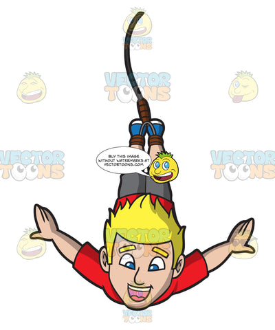 A Handsome Guy Doing A Bungee Jump