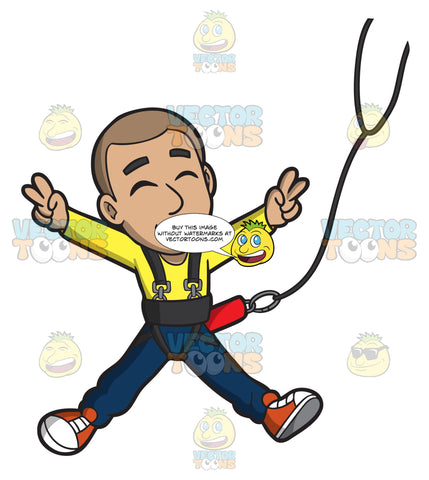 A Carefree Man Doing A Bungee Jump