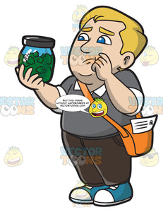 A Chubby Guy Looking At His Medical Marijuana