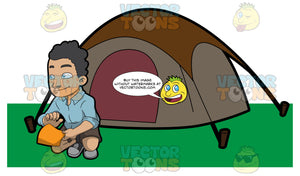 A Camper Outside His Tent