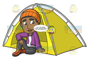 A Black Man Sitting Pretty Outside His Camping Tent