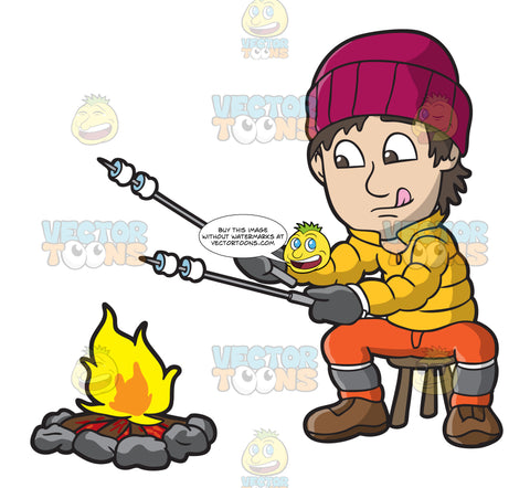 A Man Roasting Marshmallows Over A Campfire