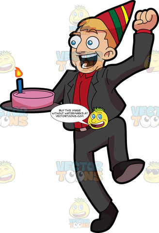 An Excited Man Carrying A Birthday Cake