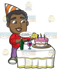 A Black Man Appreciating His Birthday Cake Clipart Cartoons By VectorToons