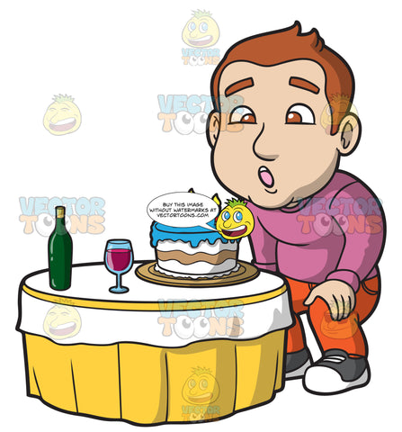 A Man Blowing Out The Candles On His Birthday Cake