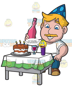 A Man Celebrating At Birthday Party Clipart Cartoons By VectorToons
