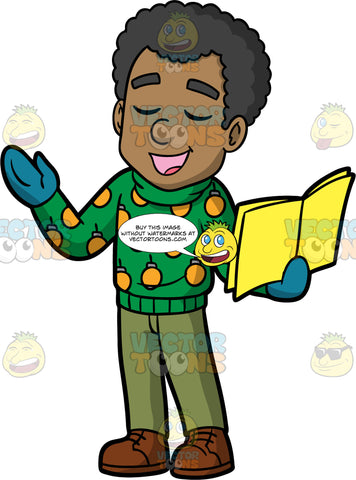 Jimmy Singing A Christmas Carol. A black man wearing olive green pants, a green Christmas sweater, blue mittens, and brown shoes, holding a song book and singing Christmas carols