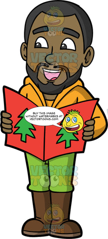 Calvin Christmas Caroling. A black man wearing green pants, an orange jacket, and brown boots, holding a song book and singing Christmas carols