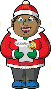 James Out Christmas Caroling. A black man wearing a red coat with white trip, gray pants, blue shoes, green gloves, and a red and white hat, standing outside and singing Christmas songs