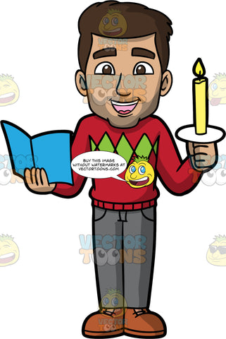 Gabriel Out Christmas Caroling. A Hispanic man wearing gray pants, a red sweater, and brown shoes, holding a candle in one hand and a song book in the other as he sings Christmas carols