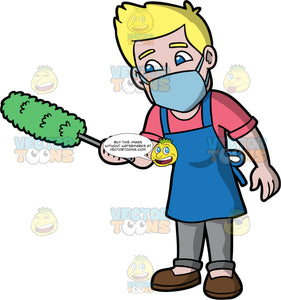 A Man Getting Ready To Dust Items In His House. A man with blonde hair and blue eyes, wearing gray pants, a coral shirt, brown shoes, a blue apron, and a light blue face mask, holding a duster in his hand