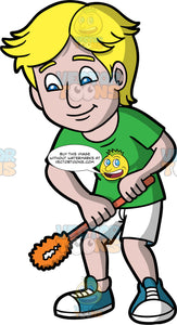 A Man Holding A Toilet Brush In His Hands. A man with blonde hair and blue eyes, wearing white shorts, a green t-shirt, and blue sneakers, holding an orange toilet brush in his hands