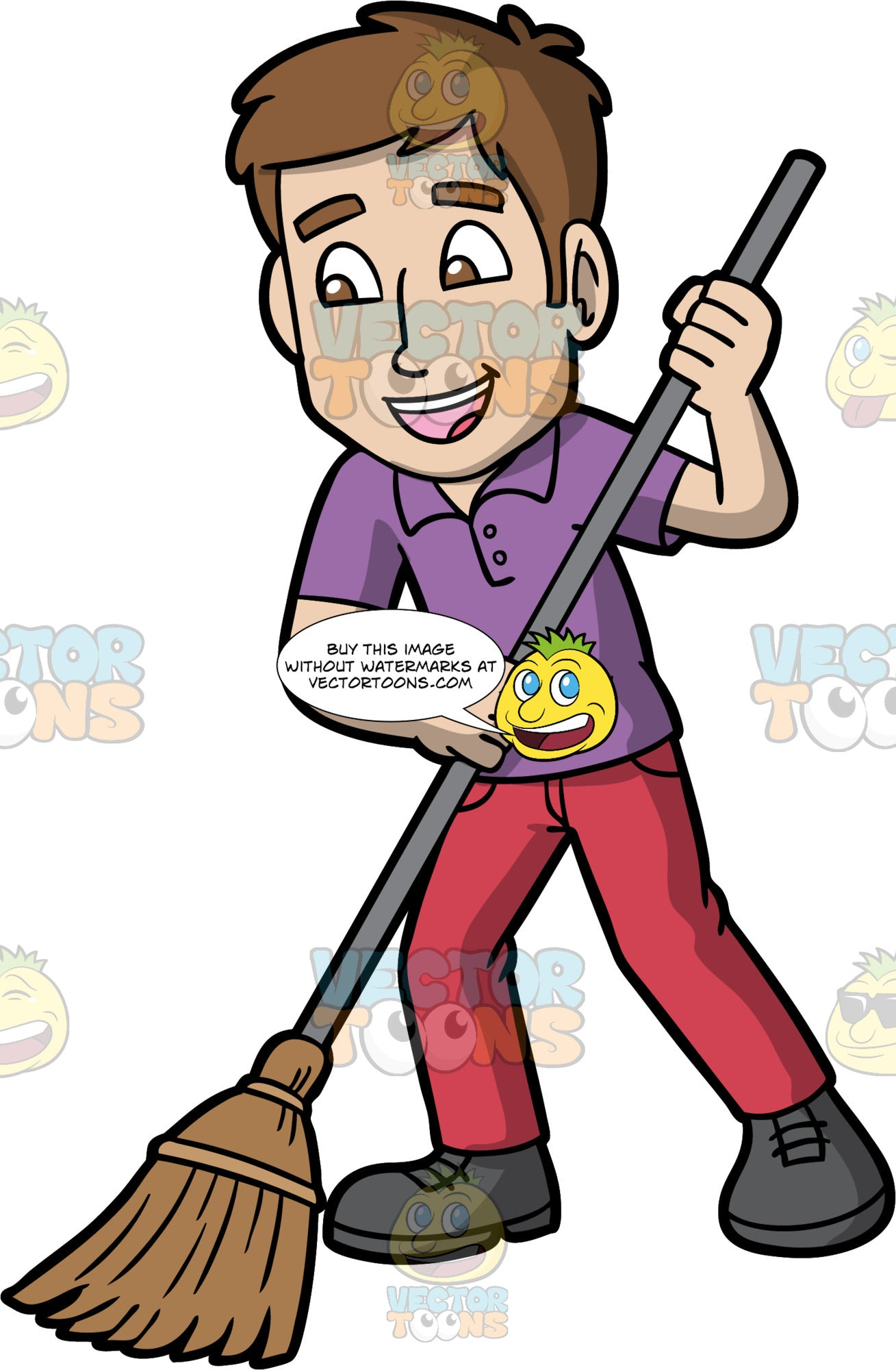 A Man Sweeping The Floor. A man with brown hair and eyes, wearing dark pink pants, a purple shirt, and gray shoes, holding onto a broom and sweeping the floor with it