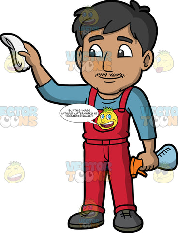 A Man Cleaning The Wall. A man with black hair, wearing red overalls, a blue shirt, and dark gray shoes, using a cloth in one hand to clean a wall, while holding onto a spray bottle with the other hand