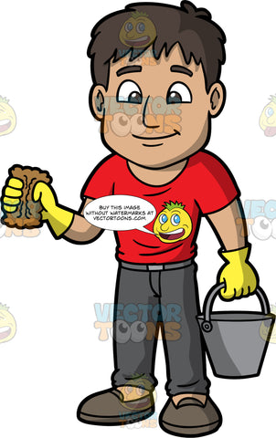 A Man Holding Onto A Sponge And Bucket. A man with dark brown hair and eyes, wearing dark gray pants, a red shirt, gray shoes, and yellow rubber gloves, holding onto a metal bucket with one hand and a brown sponge with the other
