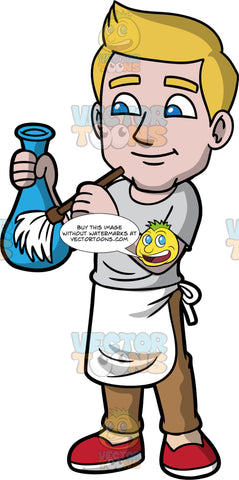 Matthew Dusting A Vase. A man with dirty blonde hair and blue eyes, wearing brown pants, a grey t-shirt, a white apron, and red shoes, holding a blue glass vase in one hand, while using a feather duster in the other hand to dust it