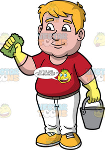 Sam Getting Ready To Clean The House. A man with dark blonde hair and brown eyes, wearing white pants, a red t-shirt, yellow rubber gloves, and yellow shoes, holding a metal bucket in one hand, and a green sponge in th other