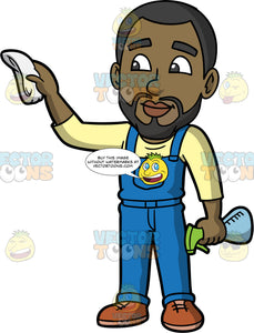 Calvin Cleaning The Windows With A Cloth. A black man wearing blue overalls over a pale yellow shirt, and brown shoes, holding a spray bottle in one hand, and cleaning a window with a white cloth in the other hand
