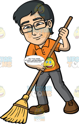 Simon Sweeping The Floor With A Broom. An Asian man with black hair, wearing gray pants, an orange shirt, brown shoes, and eye glasses, holding a broom in his hands and using it to sweep the floor