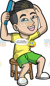 An Asian man combing his hair. An Asian man with black hair, wearing green shorts, a yellow t-shirt, and white shoes, sits on a stool and combs his hair with a blue comb