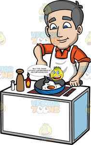 Bob Frying An Egg In A Pan. A mature man with gray hair and blue eyes, wearing an orange shirt, and white apron, standing behind a stove and using a spatula to flip the egg he is frying