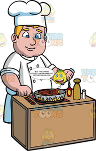 Sam Cooking Steak In A Frying Pan. A man with dark blonde hair and blue eyes, wearing a chef's jacket, and chef's hat, standing behind a stove and adding seasoning to the steak he is cooking