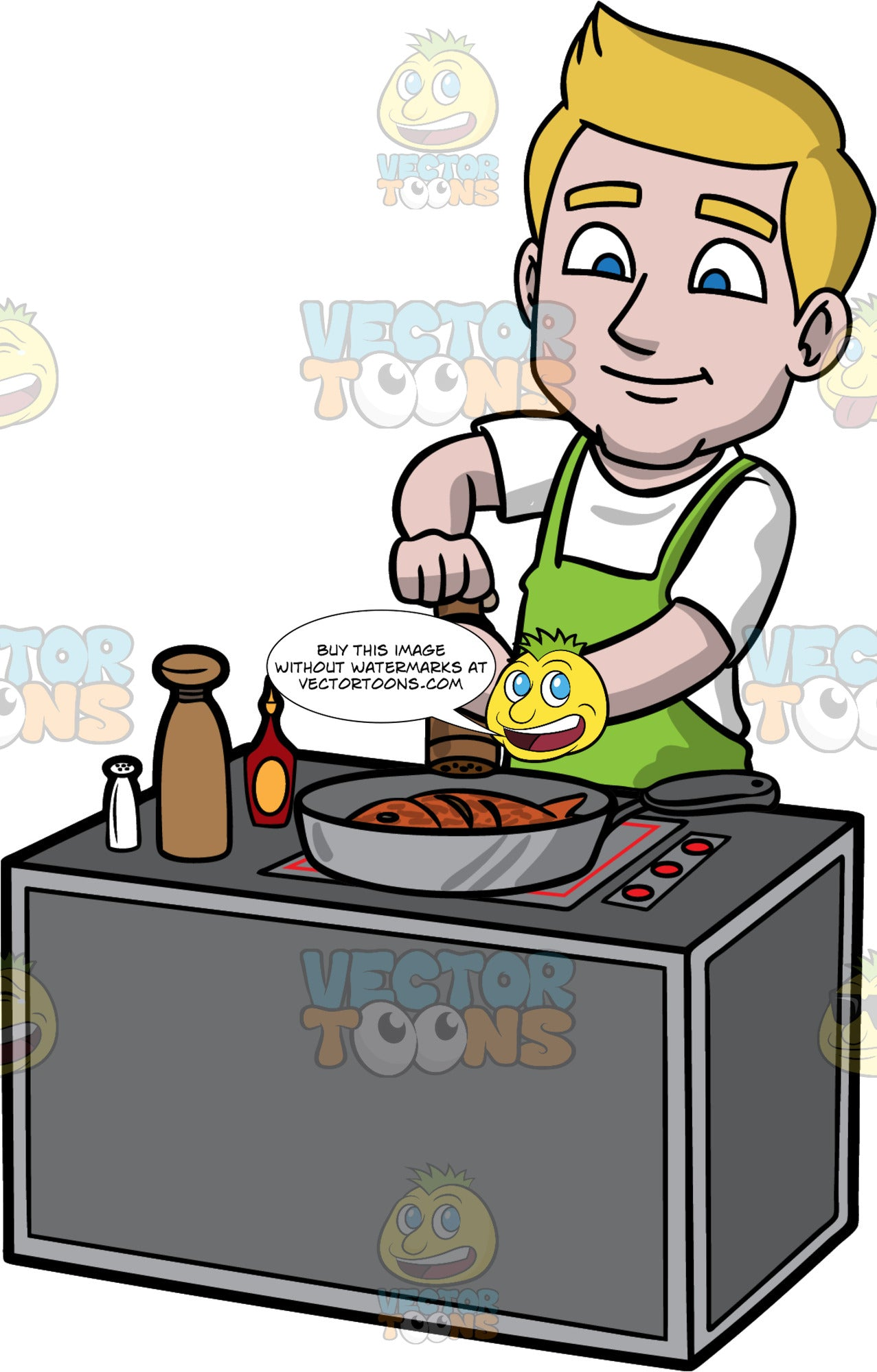 Matthew Adding Pepper To The Fish He Is Cooking. A man with dirty blonde hair and blue eyes, wearing a white t-shirt, and green apron, standing behind a stove and using a pepper mill to add pepper to the fish he is cooking in a frying pan