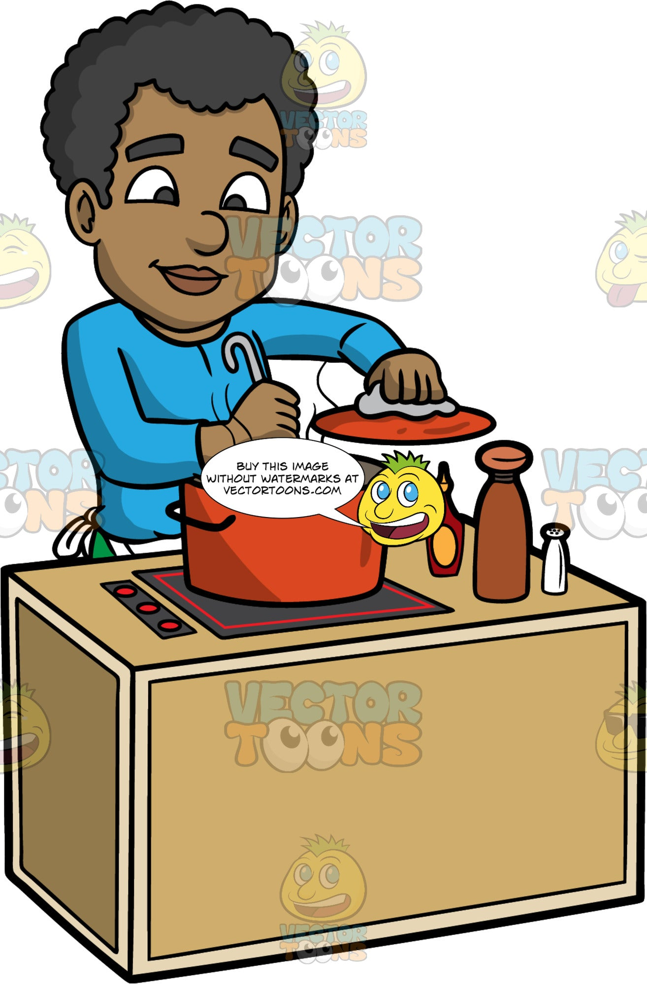 Jimmy Stirring Soup Cooking On The Stove. A black man wearing a blue shirt, and a white apron tied around his waist, standing behind a stove and stirring the soup he is cooking in a large red pot