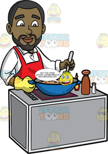 Calvin Stirring The Stew He Is Cooking. A black man with a beard, wearing a white shirt, and red apron, standing behind a stove and stirring the stew he has cooking in a large blue pot