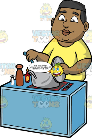 James Stirring The Food He Is Cooking. A black man wearing a yellow shirt, standing behind a stove and stirring the ingredients that are cooking in a large pot on the stove